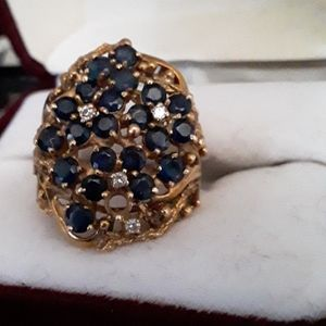 14k gold blue sapphire and diamond ring